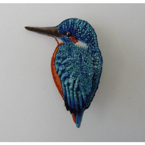 Vikki Lafford Garside Kingfisher beak left Embroidered Brooch