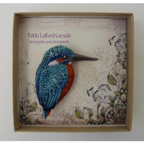 Vikki Lafford Garside Kingfisher beak right Embroidered Brooch