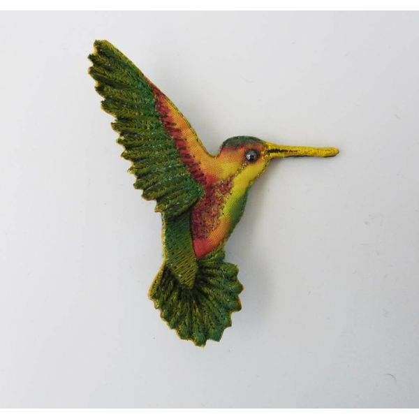 Humming bird beak right Embroidered Brooch
