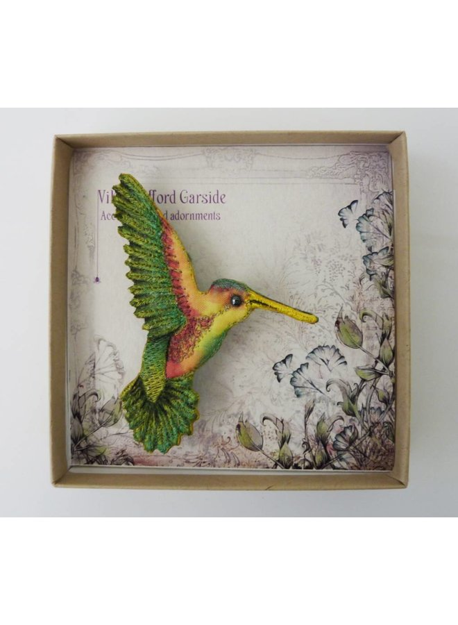 Kolibri rechts gestickte Brosche