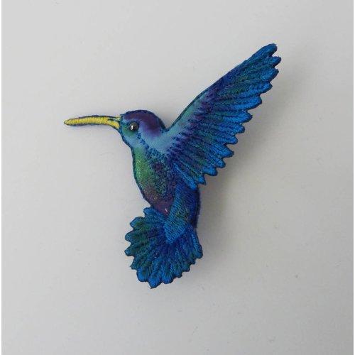 Vikki Lafford Garside Humming bird beak left Embroidered Brooch