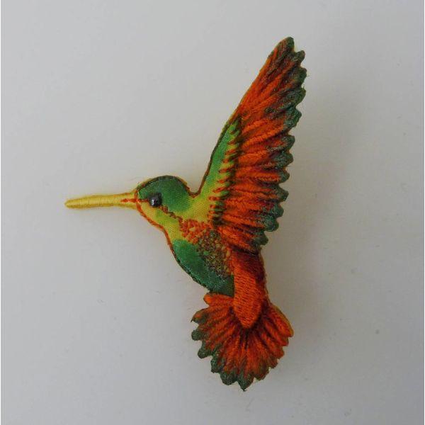 Pico colibrí a la izquierda broche bordado