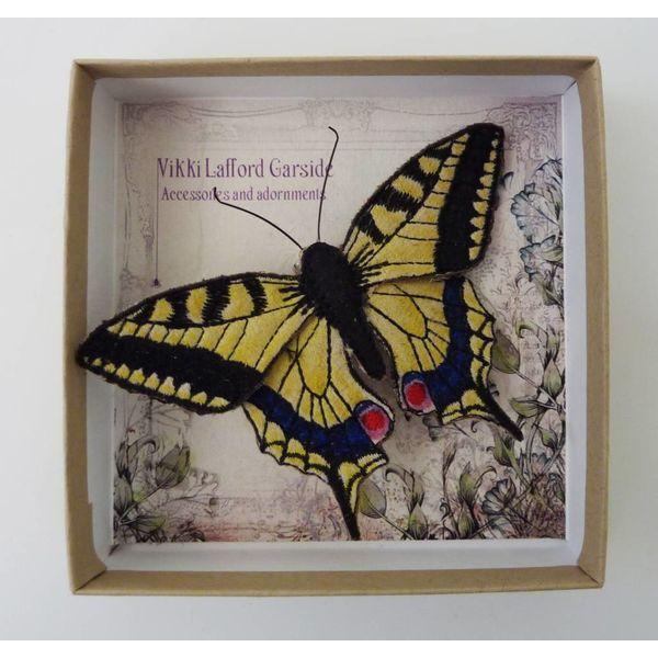 Swallowtail britischer Schmetterling gestickte Brosche