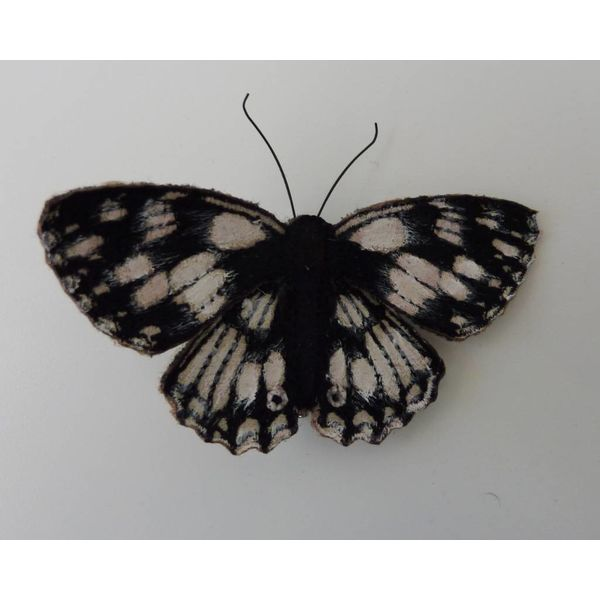 Marbled White British Butterfly Embroidered Brooch