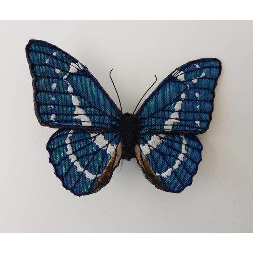 Vikki Lafford Garside Blauer Morpho gefährdeter Schmetterling gestickte Brosche