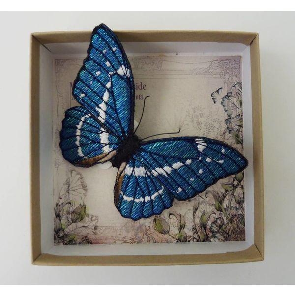 Blauer Morpho gefährdeter Schmetterling gestickte Brosche