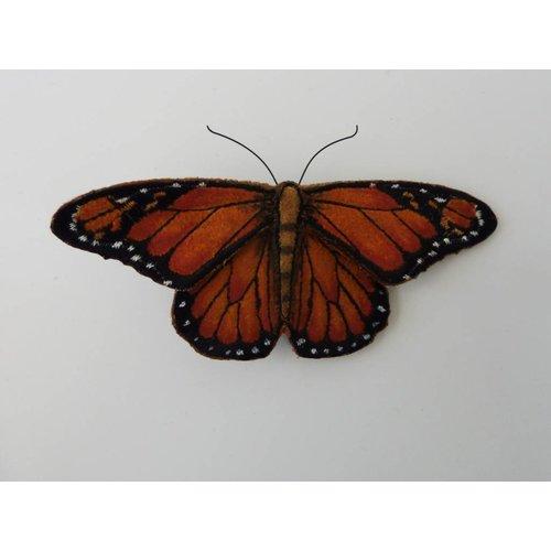 Vikki Lafford Garside Monarch-gefährdeter Schmetterling gestickte Brosche