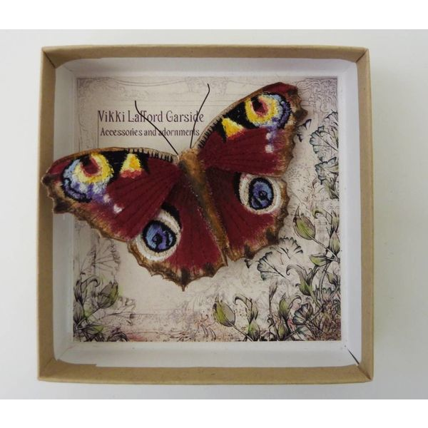 Peacock  British Butterfly Embroidered Brooch