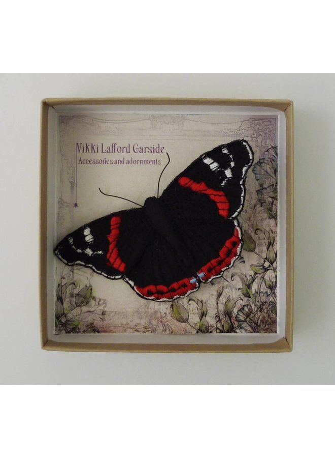 Red Admiral British Butterfly Embroidered Brooch