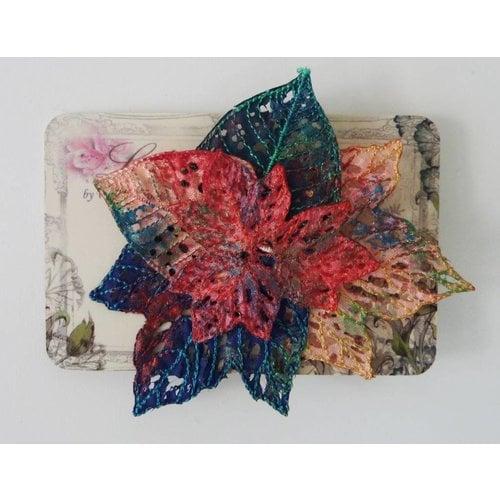 Vikki Lafford Garside Leaf cluster Embroidered Brooch 027