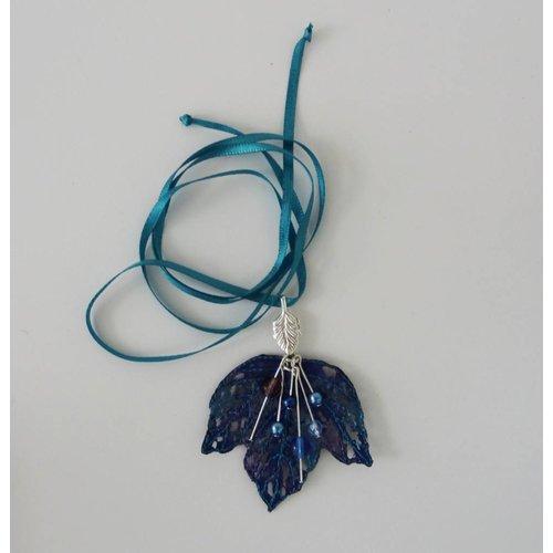 Vikki Lafford Garside Leaf and Berries embroidered necklace