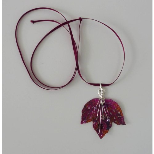 Vikki Lafford Garside Leaf and Berries embroidered necklace