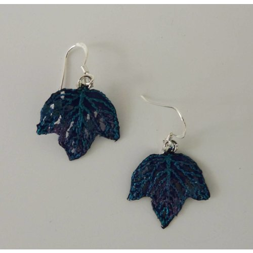 Vikki Lafford Garside Leaf tiny embroidered earrings