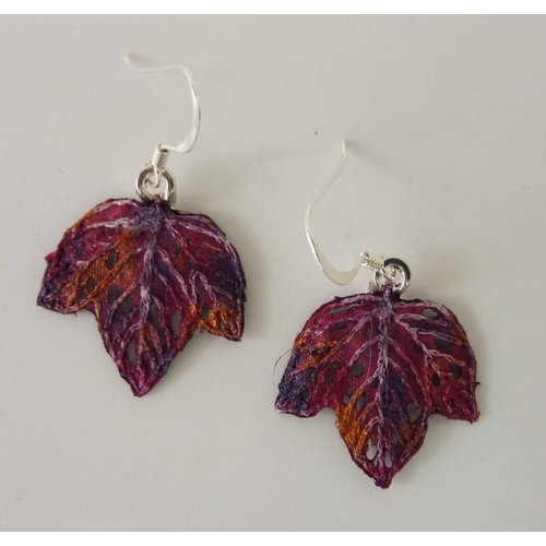 Vikki Lafford Garside Leaf tiny embroidered earrings