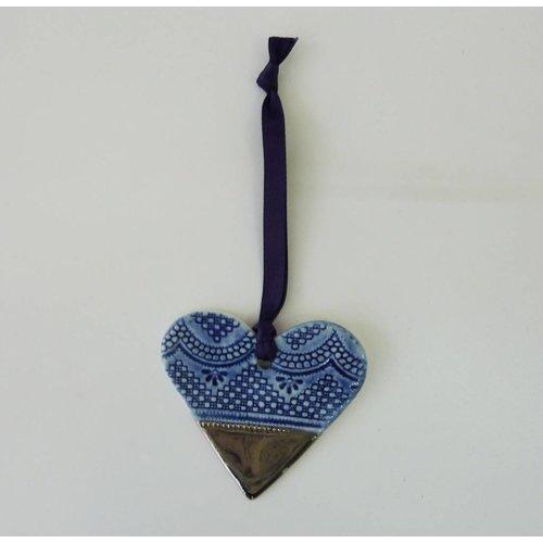 Martha's Grandad Herz Ornament Platin Glanz