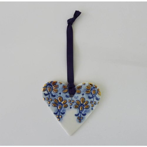 Martha's Grandad Heart ornament Blue gold lustre with lace