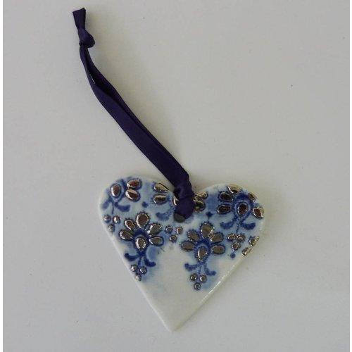 Martha's Grandad Herz Ornament Blue Platinum Glanz mit Spitzen-Design