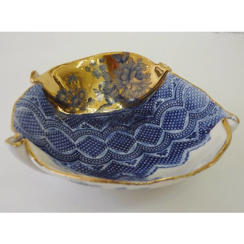 Martha's Grandad Blue floral bowl with gold lustre