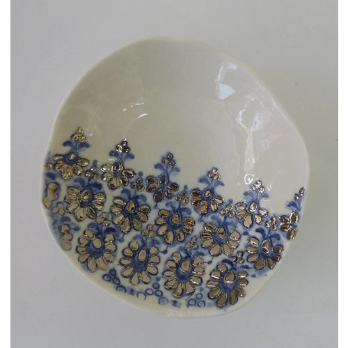 Martha's Grandad Blue Lace bowl with platinum lustre