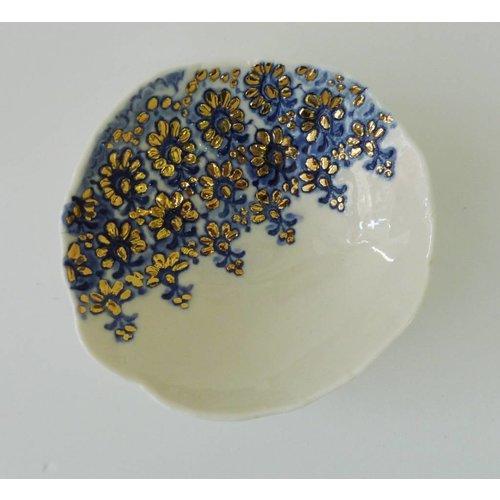 Martha's Grandad Blaue Spitzenschüssel mit Goldglanz
