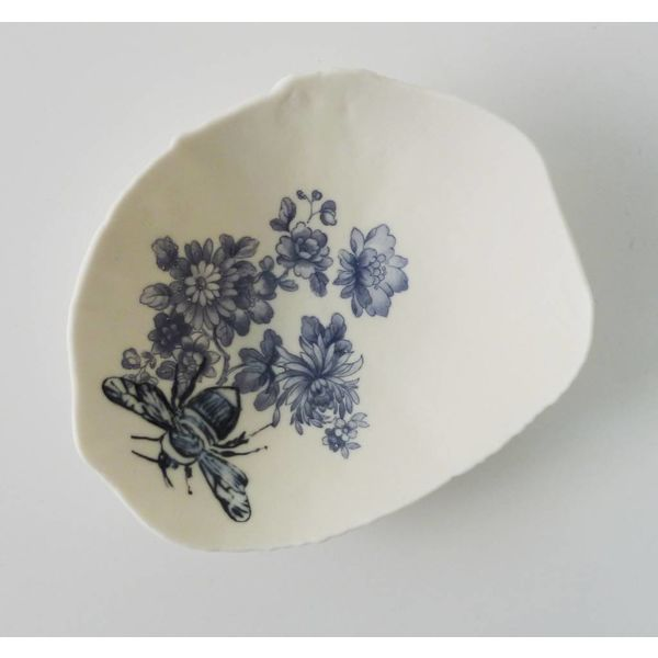 Blue Floral Bumble Bee Storage Bowl