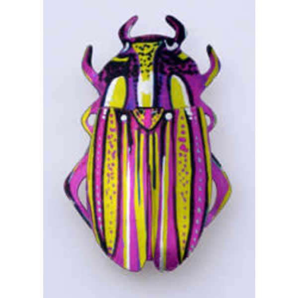 Pink and Green Beetle Brooch