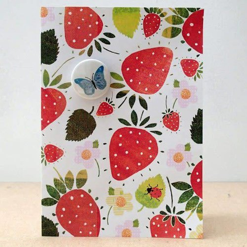 Black Rabbit Strawberry and Butterfly Badge Card