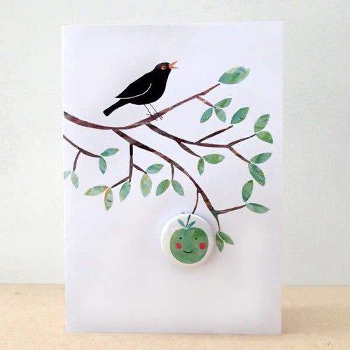 Black Rabbit Happy Apple Badge Card