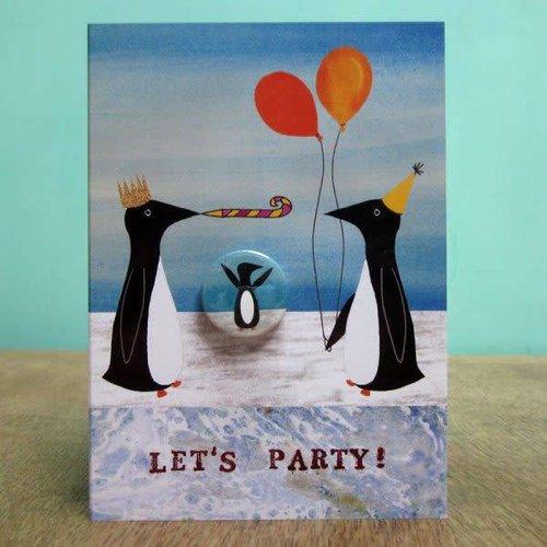 Black Rabbit Party Penguins Badge Card