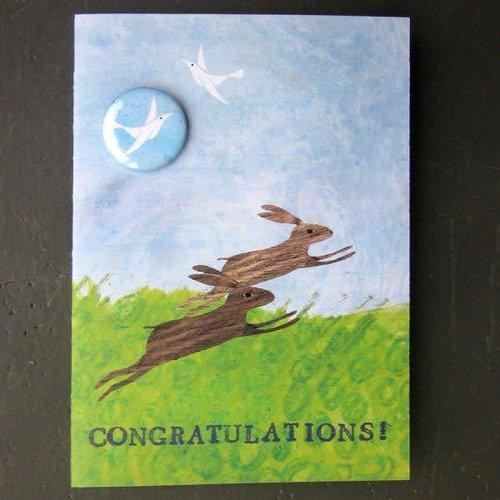 Black Rabbit Congratulations Hares Badge Card