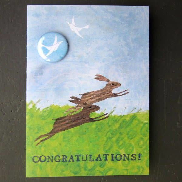 Congratulations Hares Badge Card