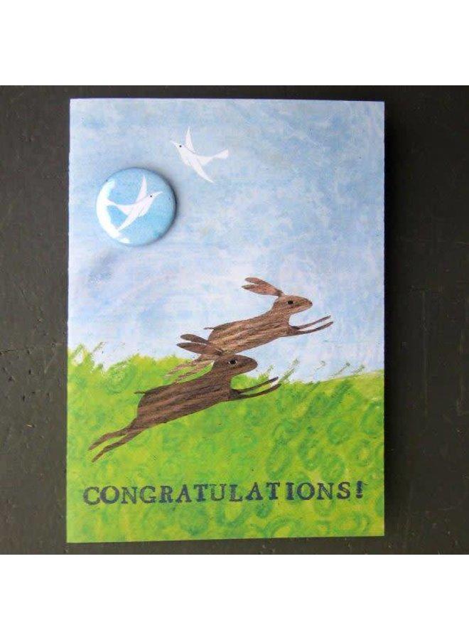Congratulations Hares Badge Card