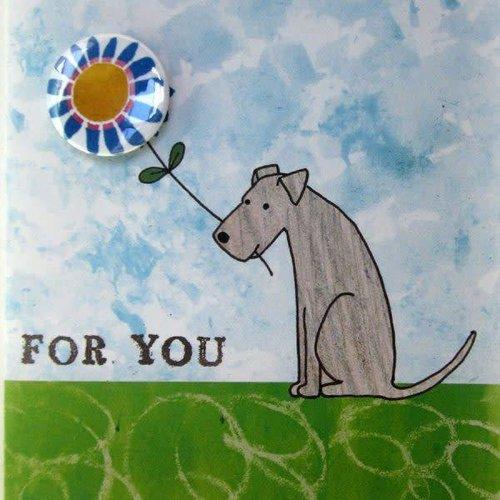Black Rabbit For You Dog Badge Card