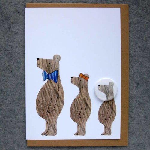 Black Rabbit 3 Bears Badge Card