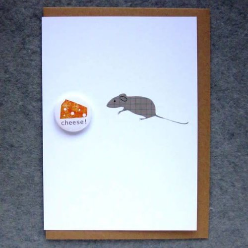Black Rabbit Mouse and Cheese Badge Card