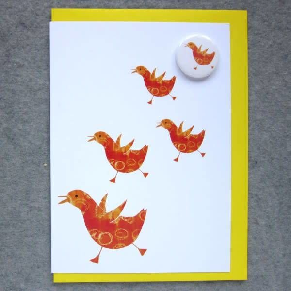Chickens Running Badge Card