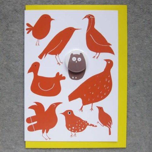 Black Rabbit Birds and Owl Badge Card