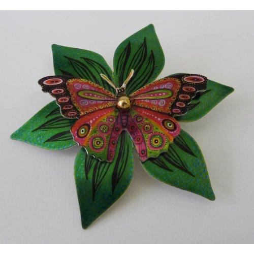 Melanie Tomlinson Double Butterfly flower enamel brooch