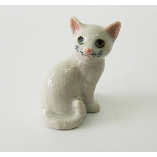And Mary White Cat charm hand painted porcelain