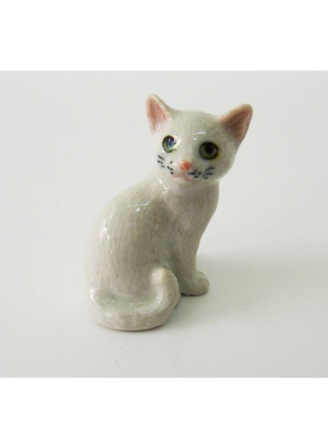 White Cat charm hand painted porcelain