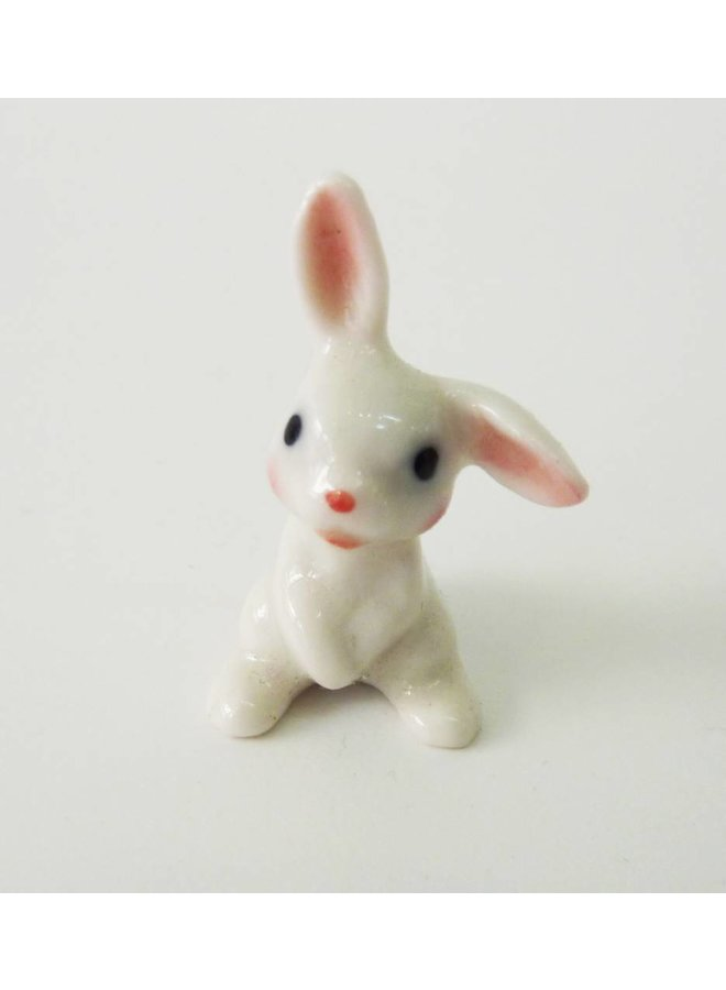 White Baby Rabbit charm hand painted porcelain