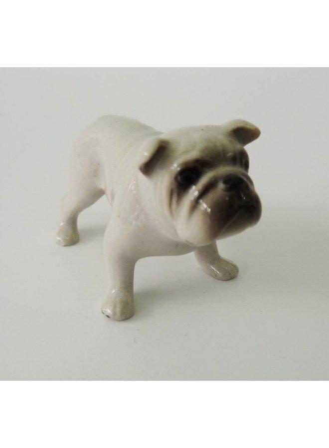 White Bull Dog charm hand painted porcelain