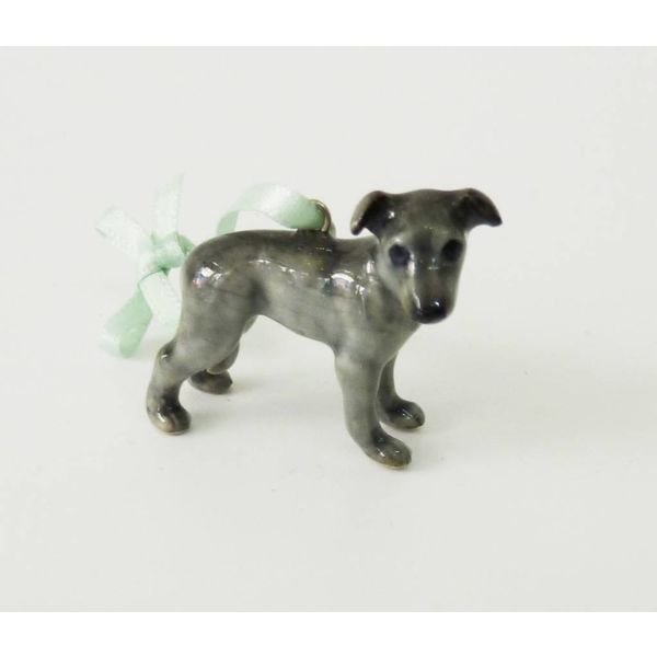 Grey Whippet charm hand painted porcelain