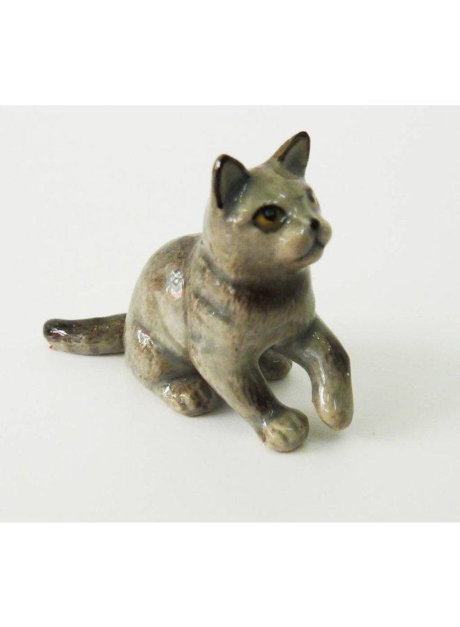 Grey Cat charm hand painted porcelain