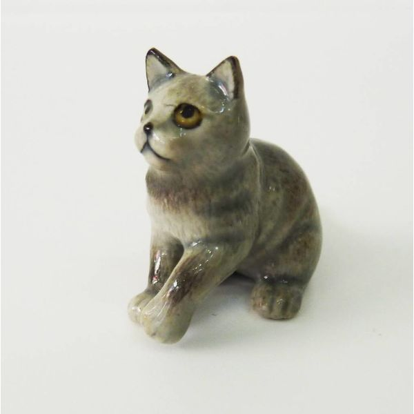 Grey Cat charm hand painted porcelain