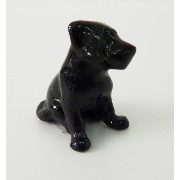 Schwarzes Labrador Puppy Charm handbemaltes Porzellan