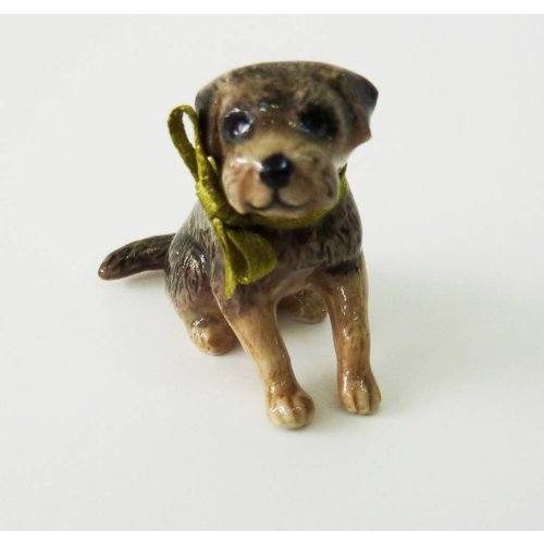 And Mary Boarder Terrier Dog charm hand painted porcelain