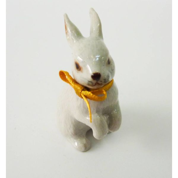 White Rabbit charm hand painted porcelain