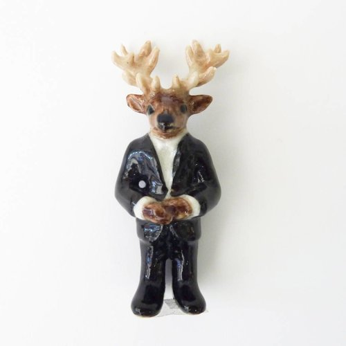 And Mary Mr Stag Man charm hand painted porcelain