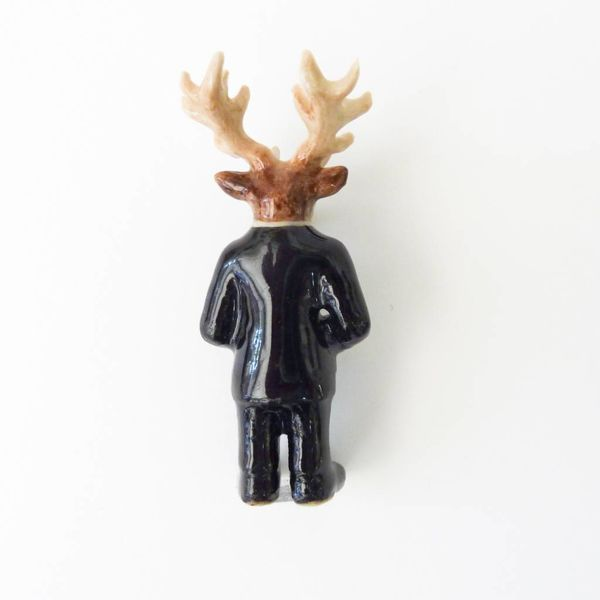 Mr Stag Man charm hand painted porcelain
